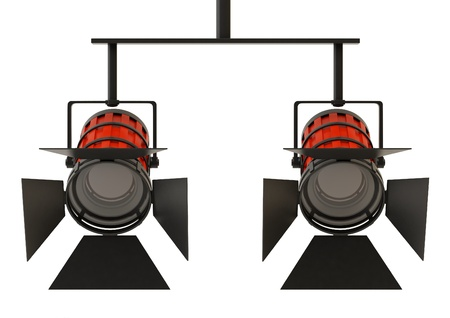 searchlights: Two professional spotlights isolated on a white background.
