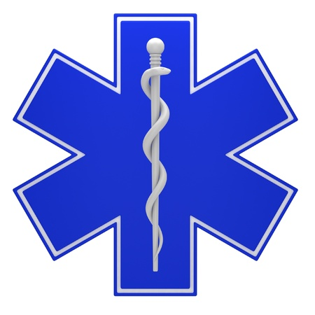 medical drawing: Star of life medical symbol isolated on a white background. Stock Photo