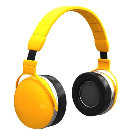 earphone: Yellow headphones isolated on a white background.