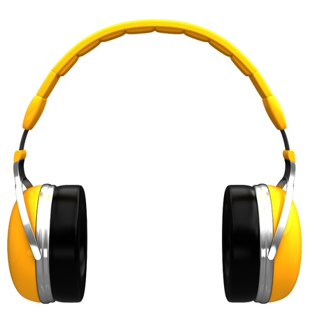 Yellow headphones isolated on a white background.