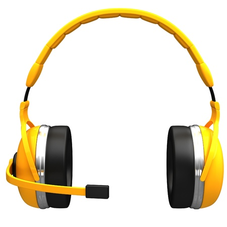 earphone: Yellow headset with microphone isolated on white background.