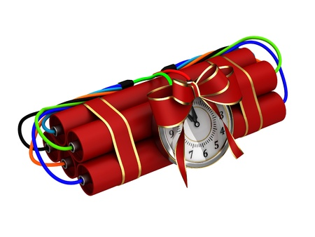 banger: A dangerous gift. Ticking bomb isolated on a white background.