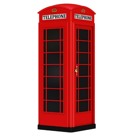 cabina telefonica: La cabina de tel�fono brit�nica rojo aislado en un fondo blanco Foto de archivo