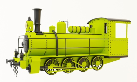 Green old steam train isolated on white background photo