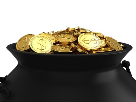 bewitchment: Cauldron of golden coins with the image of clover.