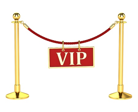 stanchion: A velvet rope barrier, with a vip sign Isolated on white background Stock Photo