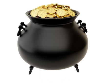 Cauldron of golden coins with the image of clover. photo