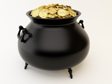 bewitchment: Cauldron with golden coins Stock Photo