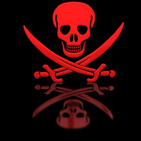 Red Jolly Roger skull and swords on the glossy surface.