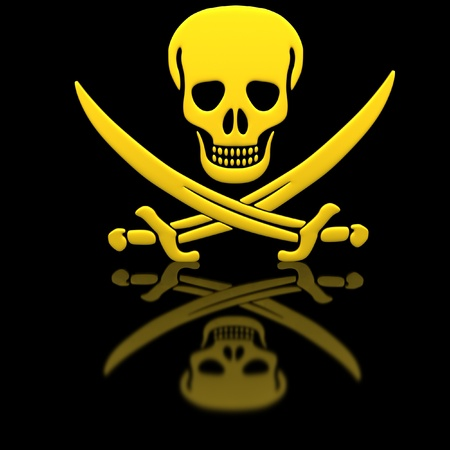 Yellow Jolly Roger skull and swords on the glossy surface. photo