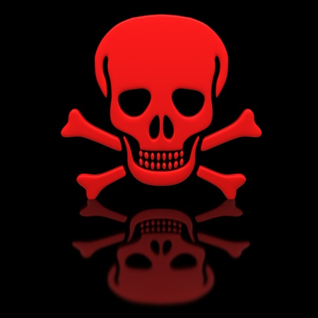 Red skull and crossbones on a black glossy surface. photo