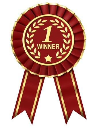 primer lugar: Premio Cinta Roja sobre fondo blanco. Foto de archivo
