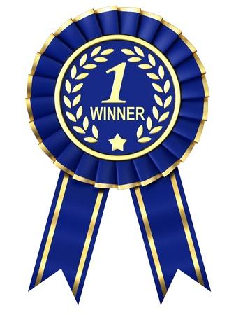 primer lugar: Premio Cinta Azul sobre fondo blanco.