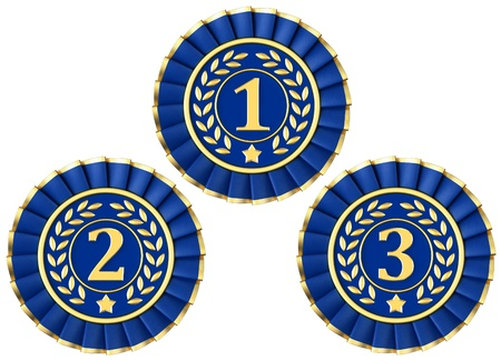 primer lugar: Premios de la cinta para el primer, segundo y tercer aislado en un fondo blanco.