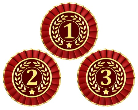 Ribbon awards for first, second and third place isolated on a white background. photo