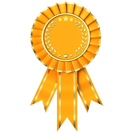 Yellow Ribbon Award isolated on white background. Stock Photo