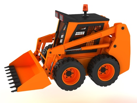 skid steer: Skid steer isolated on a white background. Stock Photo