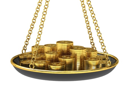 Gold coins on the scales