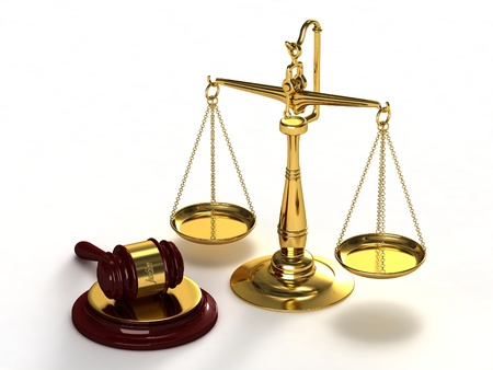 justice scales: Scales of justice and gavel. Stock Photo