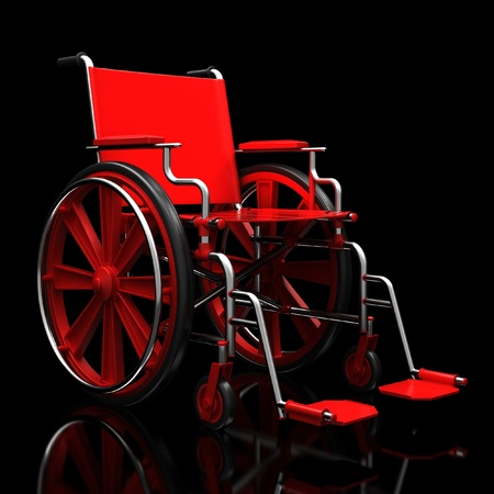 Red wheelchair on a glossy black surface.