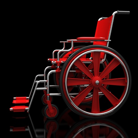 Red wheelchair on a glossy black surface. Stock Photo - 12065819