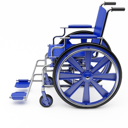 Blue wheelchair on a light background. photo