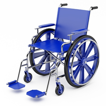 Blue wheelchair on a light background. Stock Photo
