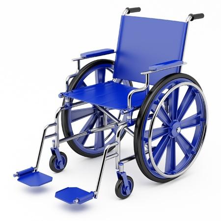 persona en silla de ruedas: Silla de ruedas azul sobre un fondo claro. Foto de archivo