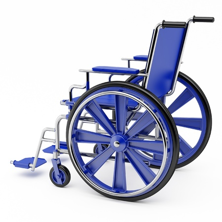 Wheel chair: Blue wheelchair on a light background. Stock Photo
