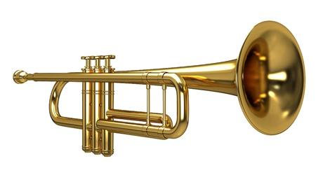 cuernos: Representación 3D de una trompeta Foto de archivo