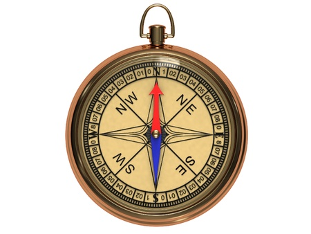 Vintage compass in the metal casing isolated on a white background.
