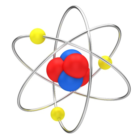 orbiting: The symbol of nuclear technology isolated on a white background. Stock Photo
