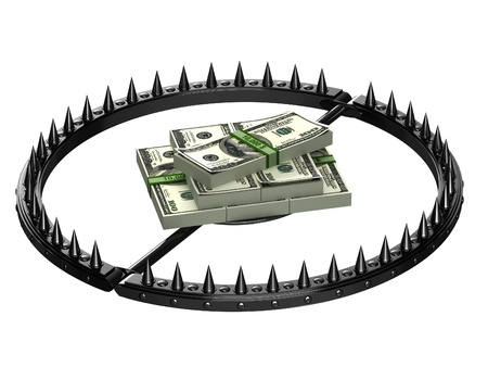 recession: Trap with bait in the form of money. An abstract image of credit slavery.