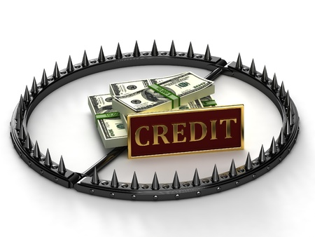 Trap with bait in the form of money. An abstract image of credit slavery.