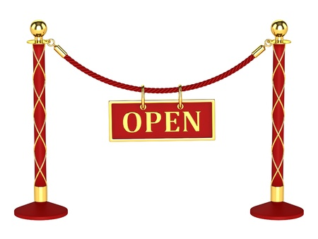 velvet rope barrier: A velvet rope barrier, with a open sign Isolated on white background Stock Photo
