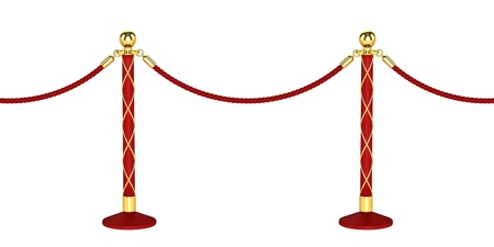 barrier rope: Seamless Rope barrier on white background
