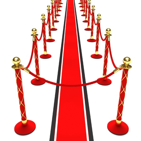 A red carpet and velvet rope on a white background photo