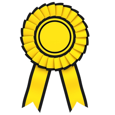 Yellow Ribbon award with a black border isolated on white background. photo