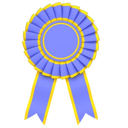 bonus: Blue Ribbon Award from the yellow border on white background. Stock Photo