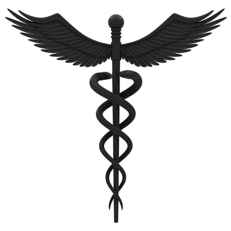 hospital staff: Medical caduceus symbol in black. Isolated on white background. Stock Photo