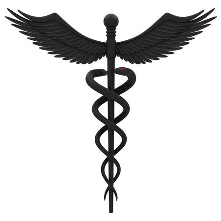 Medical caduceus symbol in black. Isolated on white background. Stock Photo - 12313283