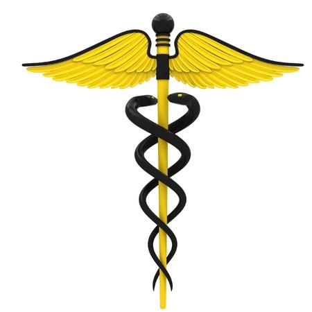 Médico símbolo del caduceo de color amarillo y negro. Aislado sobre fondo blanco.