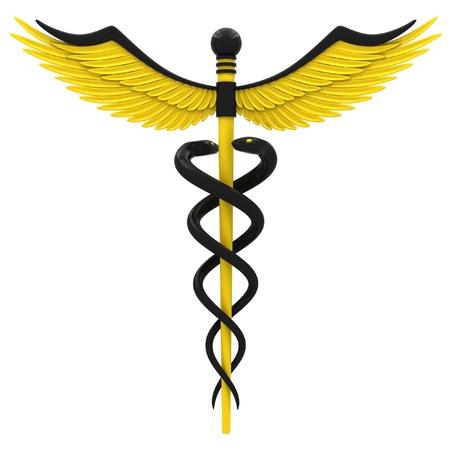aesculapius: Médico símbolo del caduceo de color amarillo y negro. Aislado sobre fondo blanco.