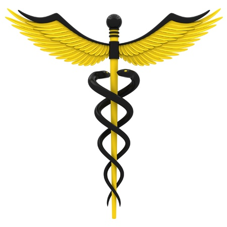 medical testing: Medical caduceus symbol in yellow and black color. Isolated on white background. Stock Photo