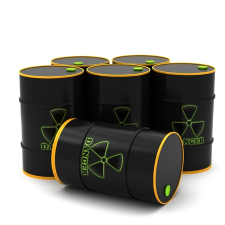 danger of radiation: Barrels for the storage of radioactive substances on a white background. Stock Photo