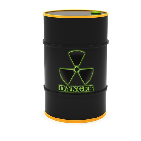 Barrels for the storage of radioactive substances on a white background. photo