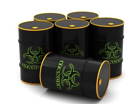 Barrels for storage of hazardous substances on a white background. Stock Photo - 12313296