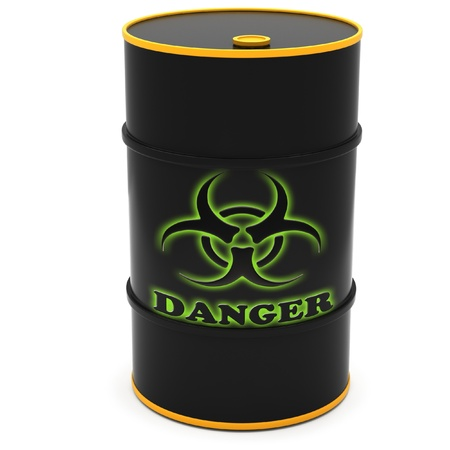 hazardous substances: Barrels for storage of hazardous substances on a white background.