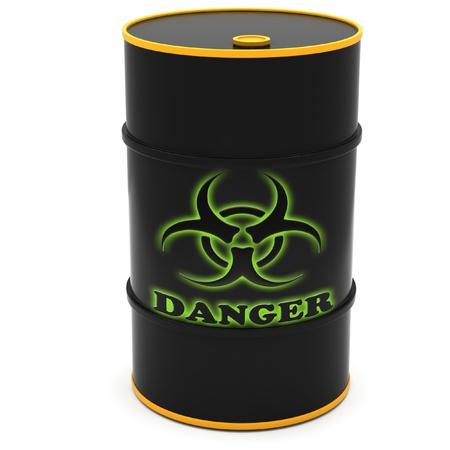 Barriles para el almacenamiento de sustancias peligrosas en un fondo blanco. Foto de archivo - 12313335
