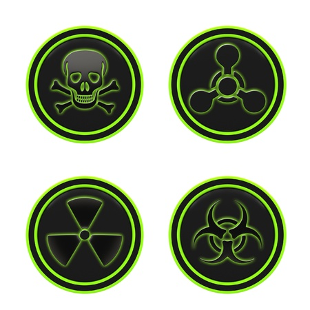 chemical weapon: Icon depicting the hazard symbols on a white background.